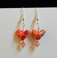 Origami Heart Earring Tutorial   AllFreeHolidayCrafts.com
