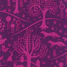 Michael Miller Norwegian Woods Too Fabric, Foxtrot In Purple, 1 Yard