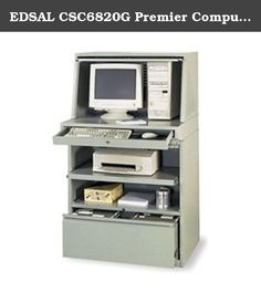 """EDSAL CSC6820G Premier Computer Enclosure, 35"""" x 30"""" x 62"""". All-in-one EDSAL Premier Computer Enclosure provides enough space to house your entire computer system. 33""""Wx18""""Dx18 1/4""""H top compartment stores most monitors and CPUs. Slide-out keyboard/mouse tray. Center compartment features a pull-out shelf. Hanging files can be kept in lower drawer. All drawers and compartments lock separately to secure stored contents. Powder coat finish."""