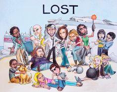 LOST. Michael, Locke, Jack, Kate, Sawyer, Sayid, Sun, Jin. Hurley. Walt, Vincent, Shannon, Boone, Claire, and Charlie.