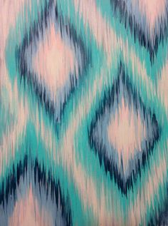 Original Abstract Ikat Acrylic 9x12 Painting by TheLittleBeanCo - copyright Victoria Ricci 2014 - The Little Bean Co.