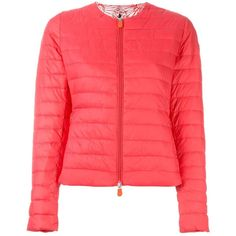 Save The Duck logo patch puffer jacket (£73) ❤ liked on Polyvore featuring outerwear, jackets, pink, pink puffer jacket, pink jacket, red jacket, logo jackets and red puffy jacket