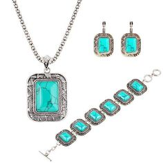 Luxurious Bracelets Earrings Necklaces Fashion Jewelry Necklace+Earrings+Bracelet Vintage Brand Turquoise Jewelry Set For Women Jewellry Online with $4.41on Worldfashionoutlet's Store | DHgate.com
