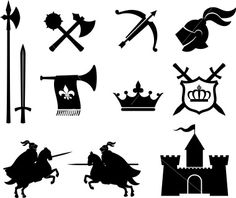 Medieval icons -- inspiration for clay stamps Free Vector Art, Vector Icons, Dark Fantasy, Medieval Symbols, Medieval Banner, Dragon Icon, Knight Logo, Time Icon, Map Icons