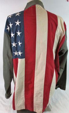 men's Tommy Hilfiger Button Front US Flag Shirt Size L large heavy cotton EUC #TommyHilfiger #BasicJacket Cool Shirts For Men, Flag Shirt, Men's Shirts, Carhartt, Tommy Hilfiger, Cool Designs, Best Deals, Coat, Fabric