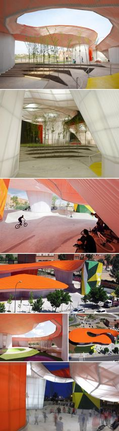 With a curvaceous skate park that can be used for skateboarding, rollerblading, or cycling, a large climbing wall, an open amphitheater encouraging shows, as well as music and dancing, what teenager would stay away? The open and inviting structure, meant to welcome all, is supported by the oval pods that house the activity rooms as well as the offices.  I'd say the whole edifice screams fun.