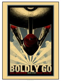 """Propaganda Art Gallery: Star Trek Retro Propaganda Poster Set via ThinkGeek.  Note: only want the """"Boldly Go"""" poster, but apparently you can only buy the set."""