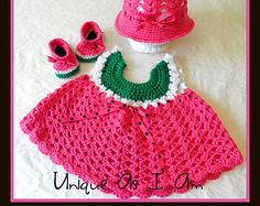 Crocheted Baby Watermelon Dress, Hat and Shoes