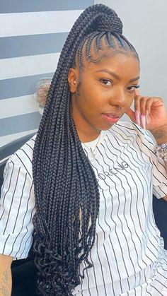 Braided Hairstyles For Black Women Cornrows, Feed In Braids Hairstyles, Braids Hairstyles Pictures, Braids For Black Hair, Black Girl Braids, Braids For Black Women, Girls Braids, African Hairstyles, Black Women Hairstyles