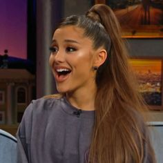 Ariana Grande reacts to her Billboard hits on James Corden. Wants to Take a Little Time Away, Says She'll 'Go Away for a Little' Barack Obama, Ariana Grande Photos, Ariana Grande Smiling, Beauty Trends, Interior Styling, Take That, Singer, Queen, Pure Products
