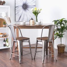 Tabouret Bistro Wood Seat Gunmetal Finish Counter Stools (Set of 2) | Overstock.com Shopping - The Best Deals on Bar Stools