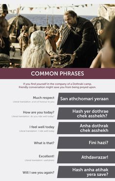Heres The Game Of Thrones Dothraki Phrasebook You Were After