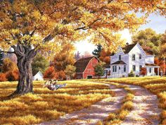 """Days of Autumn"" - Randy Van Beek Kinkade Paintings, Farm Paintings, Landscape Paintings, Autumn Painting, Autumn Art, Rustic Painting, Fall Pictures, Pictures To Paint, Country Art"
