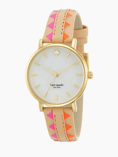 Kate Spade Metro Goldtone Stainless Steel, Mother-of-Pearl & Vachetta Leather Zigzag Strap Watch