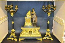 A LARGE AND IMPOSING EMPIRE BRONZE AND ORMOLU THREE