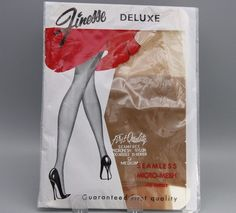 Vtg Nylon Stockings Finesse Seamless Micro Mesh 400 Needle Size 9 #Finesse