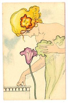 Raphael Kirchner (Austrian; 1876-1917) Austrian illustrator whose erotic 'pin up' sketches proved popular among servicemen during WWI.