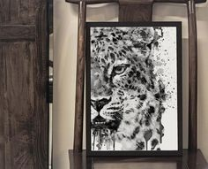 Printable Black and White Watercolor Painting of a Half Faced Leopard, Safari art, Gray scale Big cat Portrait, Wildlife poster under 15 Watercolor Paintings Of Animals, Dog Paintings, Watercolor Portraits, Thing 1, Drip Painting, Big Cats, Printing Services, Pet Portraits, Cool Gifts