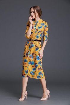 Spring Summer Women Work Office Dress High Waist Floral Print Vintage Dress
