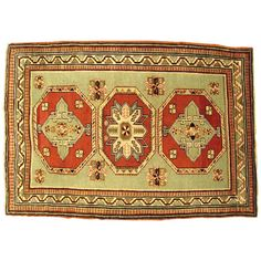 Antique Caucasian Kazak Oriental Rug | From a unique collection of antique and modern caucasian rugs at https://www.1stdibs.com/furniture/rugs-carpets/caucasian-rugs/