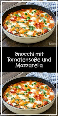 Gnocchi with tomato sauce and mozzarella - Lunch Recipes Veggie Recipes, Lunch Recipes, Breakfast Recipes, Vegetarian Recipes, Dinner Recipes, Cooking Recipes, Healthy Recipes, Breakfast Healthy, Easy Family Meals