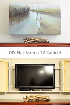 Free plans for a DIY wall mounted tv cabinet. Build a cabinet to hide the flat screen TV behind art in your home. Simple instructions for hidden tv cabinet you Diy Screen Door, Sliding Screen Doors, Diy Door, Diy Tv, Tv Escondida, Ideas Cabaña, Door Ideas, Hidden Tv Cabinet, Wall Mount Tv Cabinet