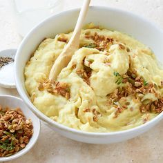 Mashed Potatoes with Savory Thyme Granola bring a delicious new twist to mashed potatoes! More holiday side dish ideas at: http://www.bhg.com/christmas/recipes/holiday-side-dishes/?socsrc=bhgpin112812potatoeswithgranola