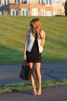 Denim Vest & Black Dress