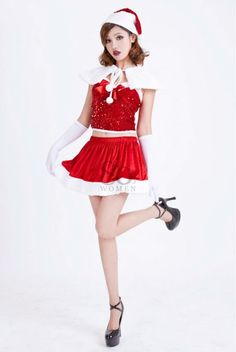 Wholesale retail Red Velvet Sexy christmas costume dress with cap For women santa gown clothes Discount Cheap on AliExpress.com. $28.69