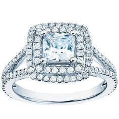 Princess cut double halo diamond ring in platinum by Monique Lhuillier for Blue Nile