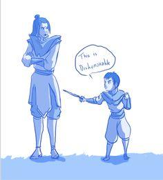 """from ASN:  """"No, it would be ironic if she has a son with her brother's personality.   Can you imagine it? Azula lies about something and then her eight year old boy is hitting her with a bamboo stick on the knee repeating """"This is dishonorable!"""" over and over again.""""  Careful, little Dominick. Momma is giving you the """"lightining"""" looks."""