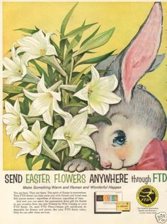 1960s vintage Easter Rabbit  Flower Bouquet FTD FLORIST Floral Arrangement AD