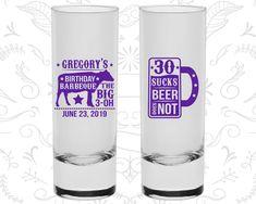 30th Birthday Shooter Glasses, BBQ Birthday, Barbeque Birthday, Birthday Tall Shot Glasses (20248)