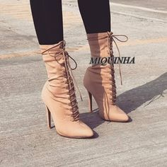 ba5d26b3a561 good-looking pointed toe suede leather women booties ankle high cross  strappy super thin high