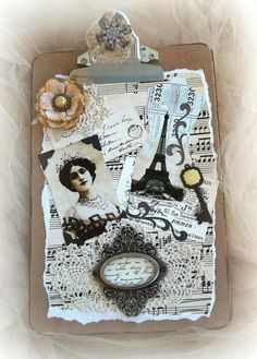 Shabby Chic Decor, Paris Clipboard, Mixed Media Art, Cottage Decor, Clip Board, handmade, one of a kind