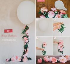 Diy wedding decorations 454863631093685710 - DIY Floral Balloon Source by Balloon Flowers, Balloon Garland, Diy Flowers, Paper Flowers, Balloon Balloon, Wedding Flowers, Ballon Diy, Balloon Party, Helium Balloons