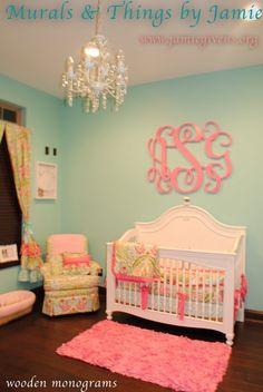this was addie's crib. love the wooden monogram