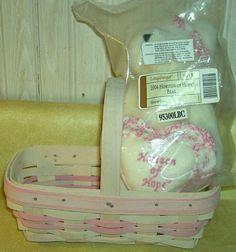 Longaberger 2000 Whitewashed Horizon of Hope Basket with plush 2004 boyd's bear