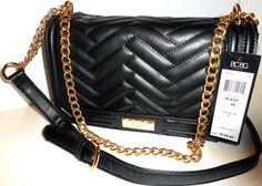 New BCBG Paris Black Matte Quilted Chain Shoulder Crossbody Handbag NWT MSRP$128 #BCBGMAXAZRIA #ShoulderBag