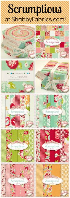 Scrumptious by Bonnie & Camille for Moda Fabrics. Yardage and pre-cuts in store NOW at ShabbyFabrics.com! http://www.shabbyfabrics.com/Scrumptious-40-FQ-Bundle-By-Bonnie-Camille-For-Moda-Fabrics-P22574.aspx