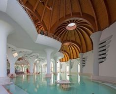 Hungarian pavilion at the Seville Expo in Seville, Spain by Imre Makovecz Hotel Architecture, Organic Architecture, Architecture Student, Beautiful Architecture, Beautiful Buildings, Gaudi, Architecture Organique, Beautiful Pools, Round House