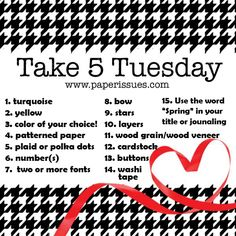 It's Mary Ann  here with the April Take 5 Tuesday Challenge!! As always, we have an idea and inspiration list for you, so pick your 5 and st...