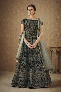 Show details for Fetching dark green designer long dress Lehenga Choli Online, Indian Sarees Online, Salwar Kameez Online, Green Saree, Anarkali Dress, Salwar Suits, Indian Dresses, Scarlet, Kurti