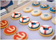 Make them holiday specific! Nautical Wedding Favors, Cookie Wedding Favors, Nautical Party, Wedding Decor, Biscuit Decoration, Buffet Dessert, Baby Boy Birthday, Birthday Ideas, Boy Christening