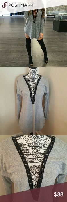 Lace Up Gray Dress New with tags! Size medium (true to size) Faux leather string. Suppa soft!  Offers welcome! Dresses Mini