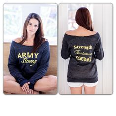 Army Strong - Strength Endurance Courage Off the Shoulder Comfy Couture Eco Fleece Sweatshirt Proud Army Girlfriend, Army Sister, Army Mom, Brother, Army Quotes, Army Family, Army Wives, Navy Wife, Military Love