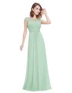 Chiffon Abendkleid lang mit Spitze in Mint Grün
