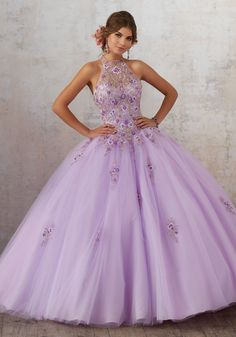56cf673df17 Purple Embroidery and Beading on a Tulle Princess Ball gown