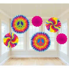 Spread a little love around your party! The Feelin' Groovy Paper Fan Decorations are a perfect way to perk it up. These fun paper fans feature rainbow swirls, and giant peace signs. Each pack contains 6 paper fans in assorted designs ranging in sizes 16 inch, 12 inch and 8 inch.