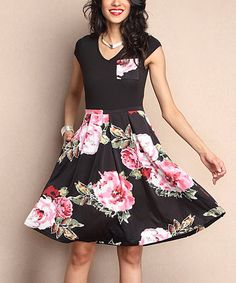 Another great find on #zulily! Black Floral Cap-Sleeve Fit & Flare Dress #zulilyfinds